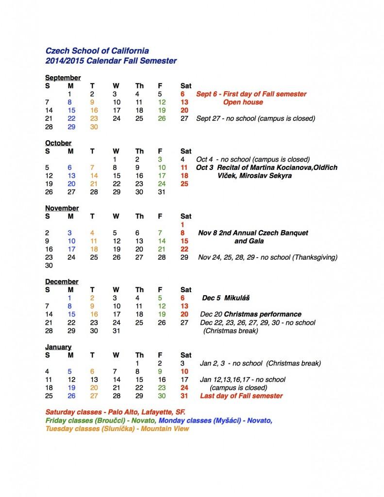 Kalendar pro rodice Fall 2014 - Spring 2015