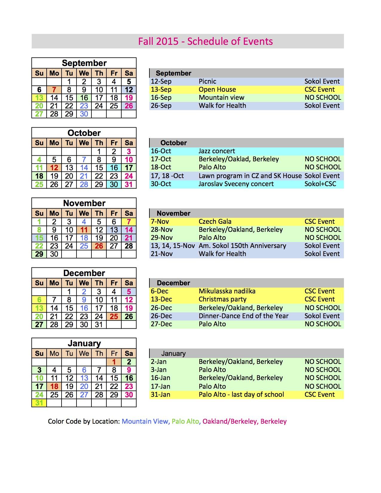 Calendar Fall 2015 Sheet1