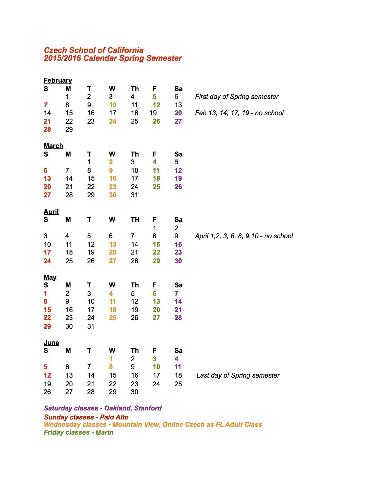 kalendar pro rodice Spring 2016
