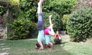 Practicing yoga with family